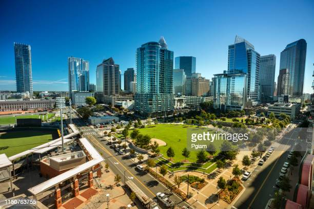 city skyline of downtown charlotte north carolina usa - charlotte north carolina stock photos and pictures