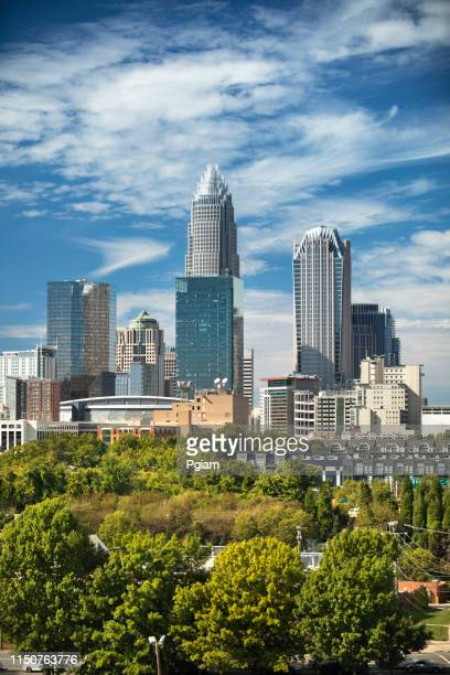 city skyline of downtown charlotte north carolina usa - charlotte north carolina stock pictures, royalty-free photos & images
