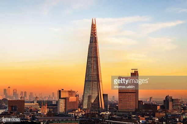 City skyline of London at sunset