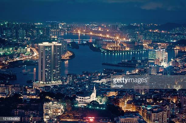 city skyline of macau at night - macao stock pictures, royalty-free photos & images