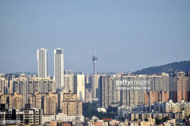 city skyline of zhongshan zhuhai and macao - zhongshan stock-fotos und bilder