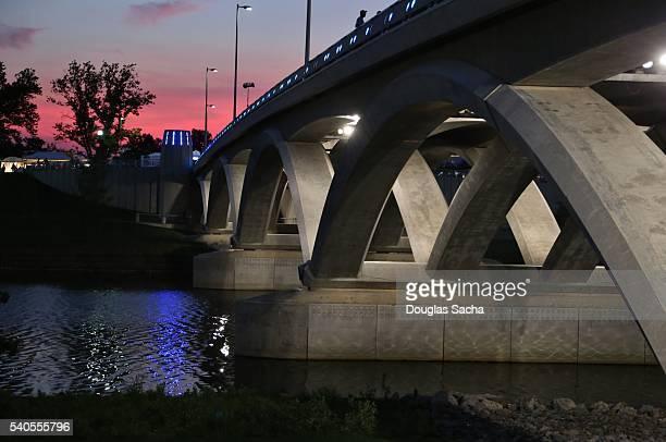City Skyline over the illuminated bridge, Columbus, Ohio, USA