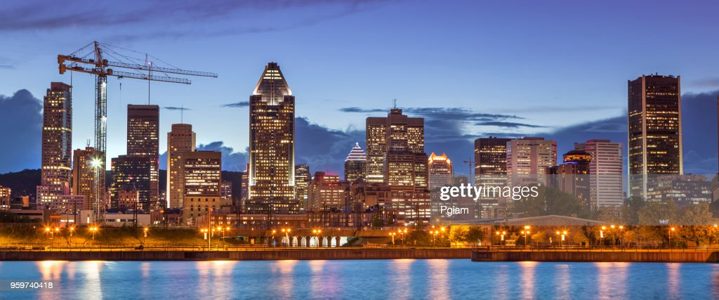 City skyline panorama at night, Montreal, Canada : Stock Photo