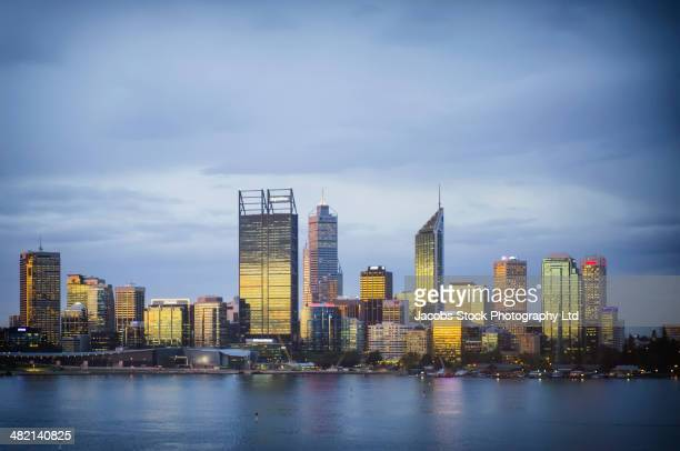 city skyline, perth, western australia, australia - perth stock pictures, royalty-free photos & images