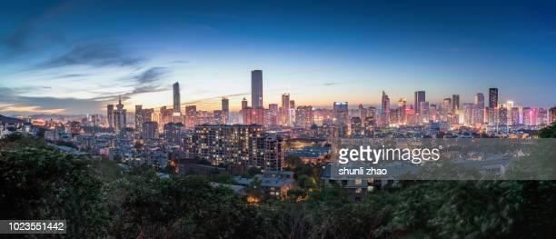 city skyline - zhongshan stock-fotos und bilder