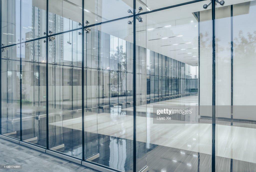 City skyline through office building : Stock Photo