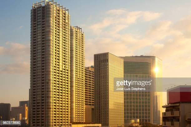 city skyline, tokyo, kanto region, honshu, japan - kanto region - fotografias e filmes do acervo