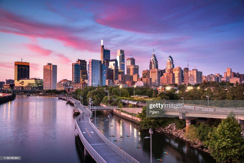 City skyline view of Philadelphia Pennsylvania : Stock Photo