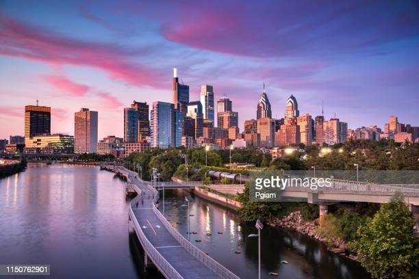 city skyline view of philadelphia pennsylvania - urban skyline stock pictures, royalty-free photos & images