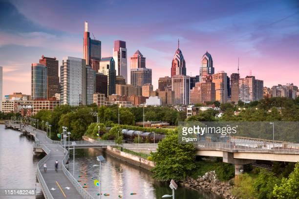 city skyline view of philadelphia pennsylvania - philadelphia skyline stock pictures, royalty-free photos & images