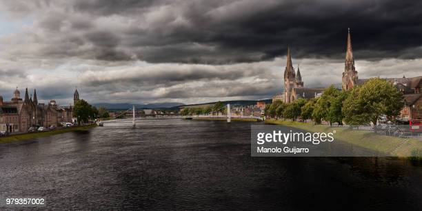city skyline with overcast sky, inverness, scotland, uk - inverness scotland stock pictures, royalty-free photos & images