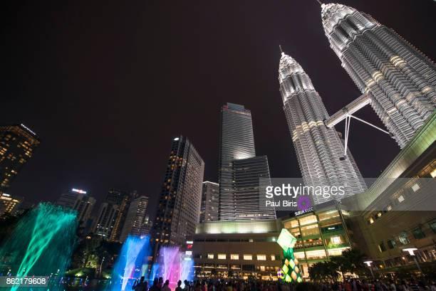 City skyline with Petronas Twin Towers by night, Kuala Lumpur, Malaysia