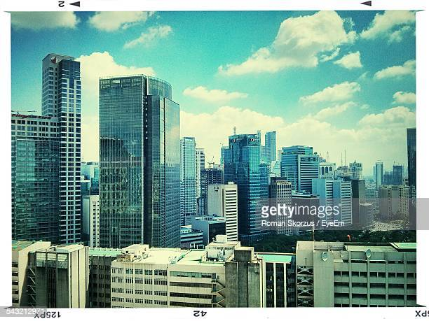 city skyline with skyscrapers - makati stock photos and pictures