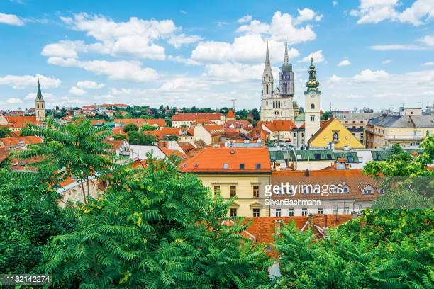 city skyline, zagreb, croatia - zagreb stock pictures, royalty-free photos & images