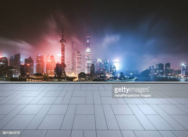 city square of shanghai - urban sprawl stock pictures, royalty-free photos & images