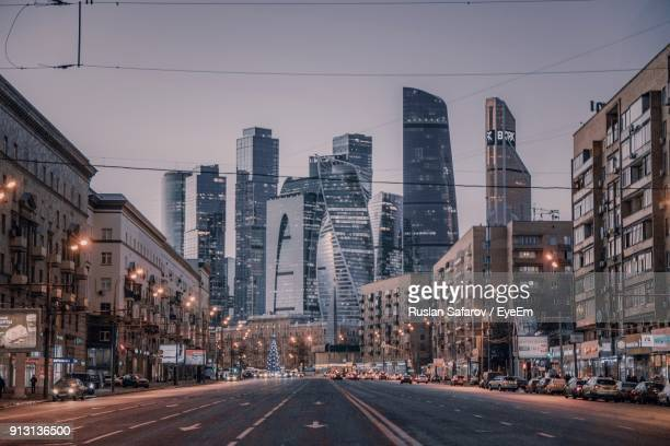 city street against clear sky at night - ロシア ストックフォトと画像