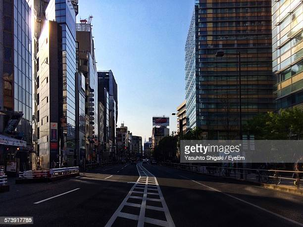 City Street Against Clear Sky At Roppongi
