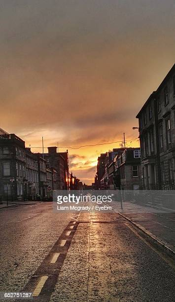 City Street Against Sky During Sunset