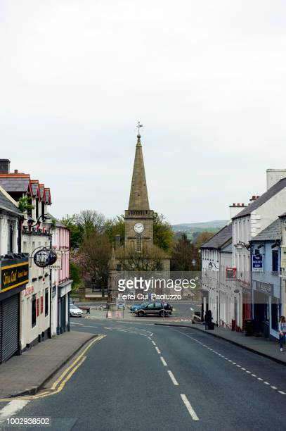 City street and church at Ballycastle, Northern Ireland
