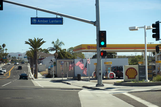 City street and gas station at Dana Point, Orange county, California, USA