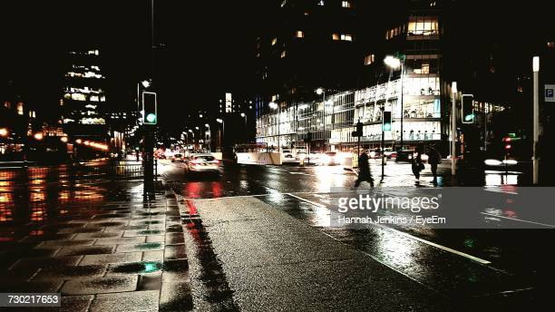 city street at night - merseyside stock pictures, royalty-free photos & images