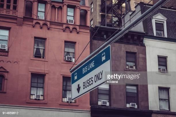 City street, bus lane.  Manhattan, New York
