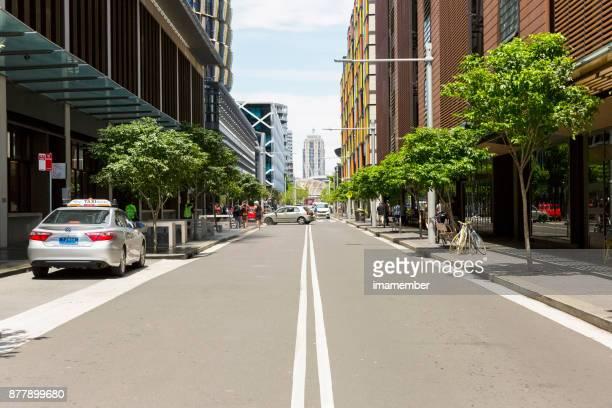 City street, Hickson Road, Barangaroo, Sydney Australia, copy space