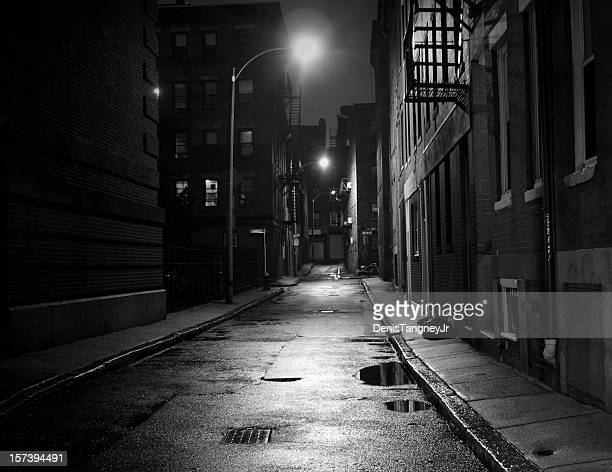 city street in black and white - black alley stock photos and pictures
