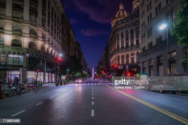 City Street In Buenos Aires At Night