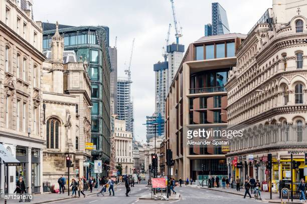 City street in financial district of London, Greater London, UK
