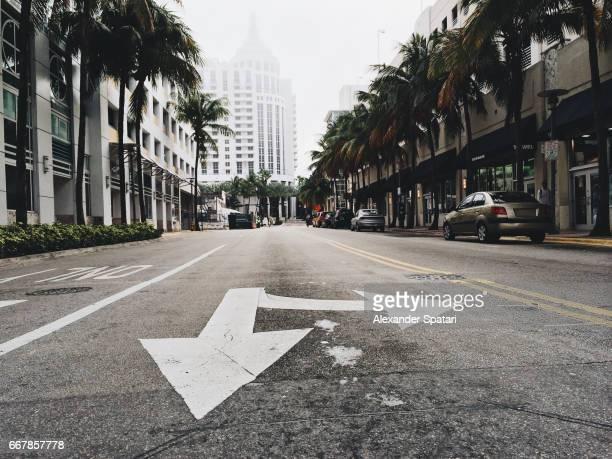 City street in Miami Beach, Florida, USA