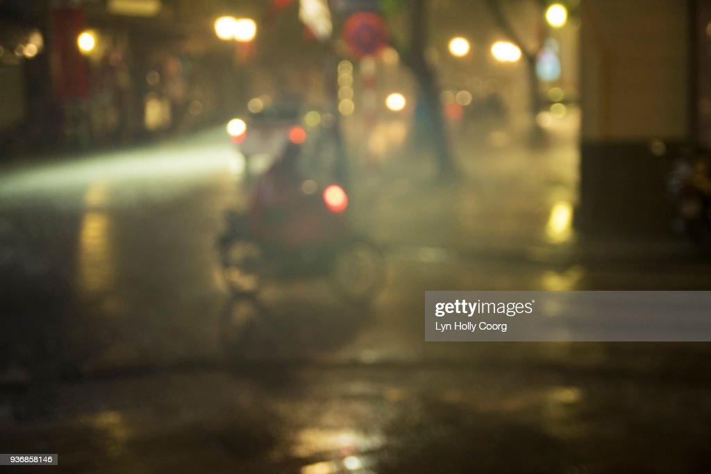 City street in the rain at night : Stock Photo