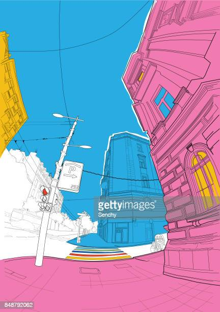 City street in vibrant colors