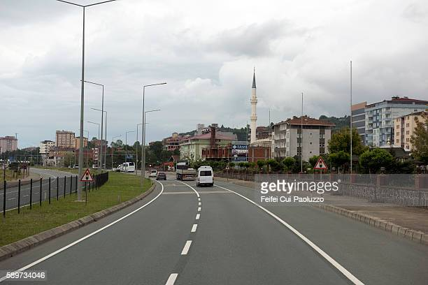 city street of arakli in trabzon province in the black sea region of turkey - trabzon stock photos and pictures