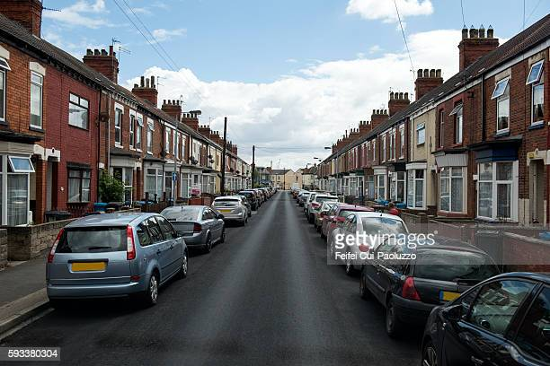 city street of kirkburn of yorkshire and the humber region in england - locais geográficos - fotografias e filmes do acervo