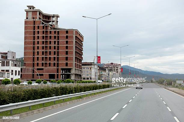 city street of yomra in turkey - trabzon stock pictures, royalty-free photos & images