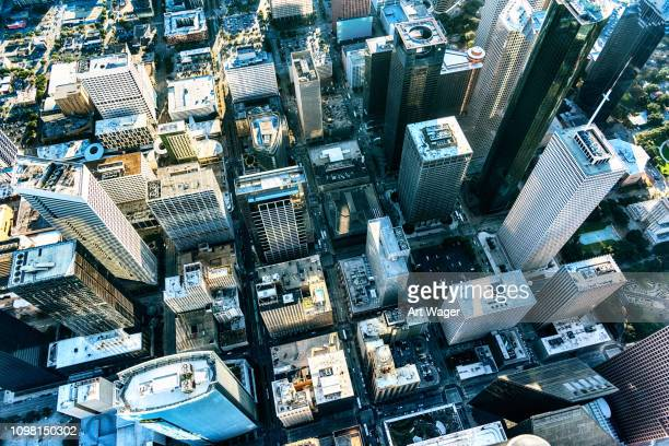 city streets of houston, texas from above - houston stock pictures, royalty-free photos & images
