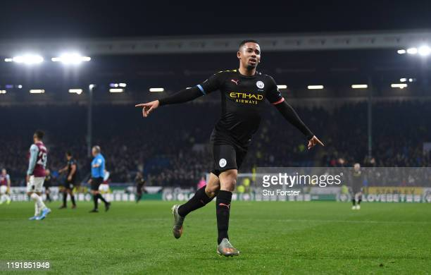 City striker Gabriel Jesus celebrates after scoring the first goal during the Premier League match between Burnley FC and Manchester City at Turf...