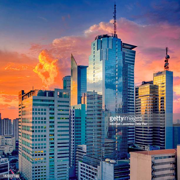 city sunset - makati stock photos and pictures