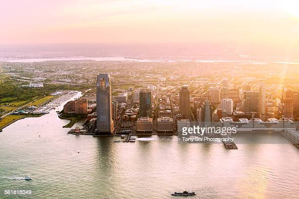 city sunset - jersey city stock pictures, royalty-free photos & images