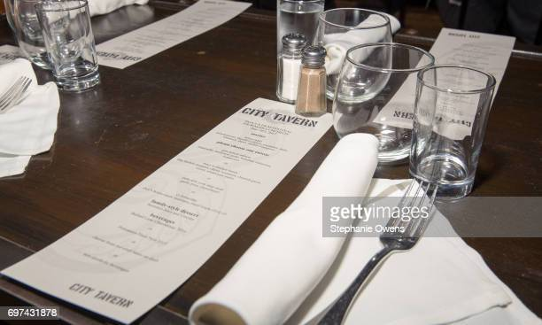 City Tavern menu is seen at the DGA Reception during 2017 Los Angeles Film Festival at City Tavern on June 16 2017 in Culver City California