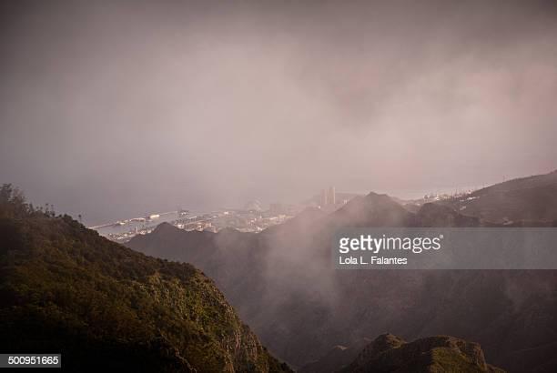 City through mist