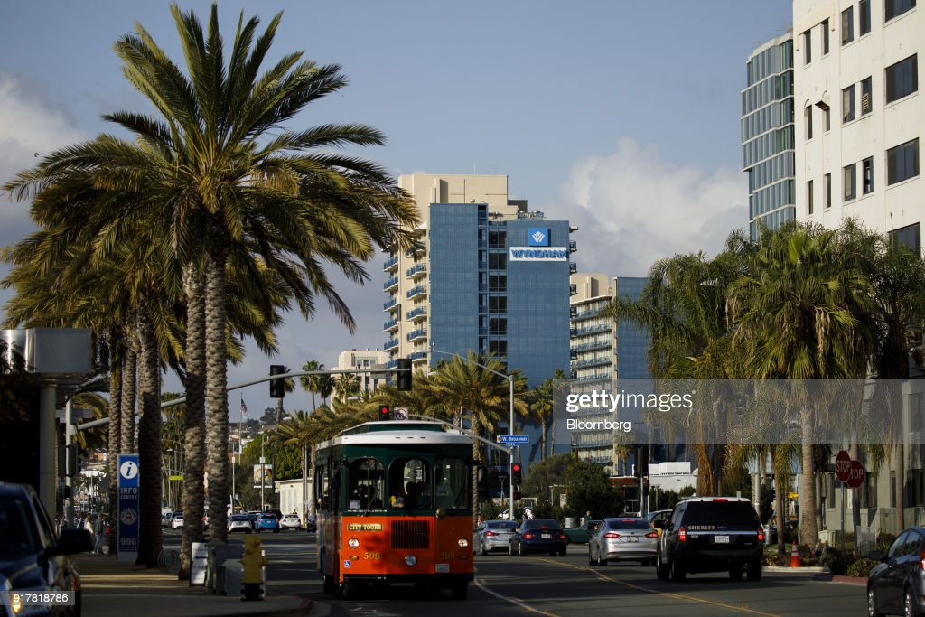 A City Tours trolley passes in front of the Wyndham San Diego Bayside hotel in San Diego, California, U.S., on Sunday, Feb. 11, 2018. Wyndham Worldwide Corp. is scheduled to release earnings figures on February 14. Photographer: Patrick T. Fallon/Bloomberg via Getty Images