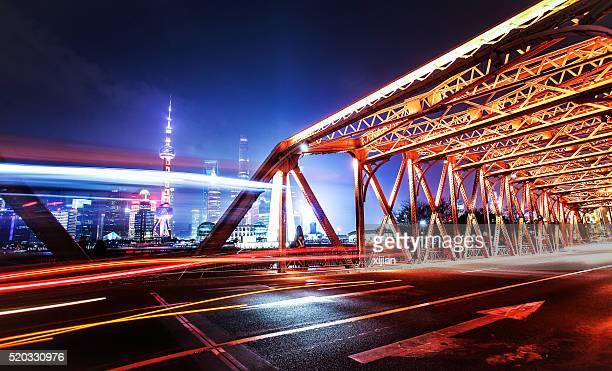 City traffic at night in shanghai