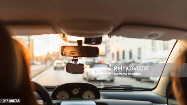 city traffic by car - traffico foto e immagini stock