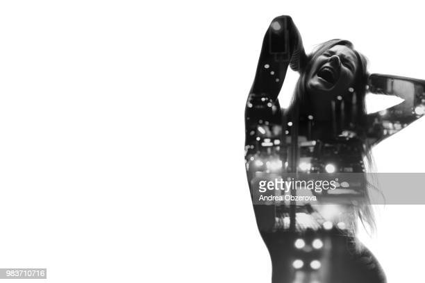 City traffic concept, double exposure female screaming