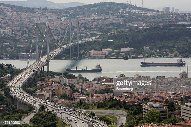 City traffic crosses a road bridge across the Bosporus in Istanbul Turkey on Friday May 29 2015 President Recep Tayyip Erdogan's campaign is meant to...