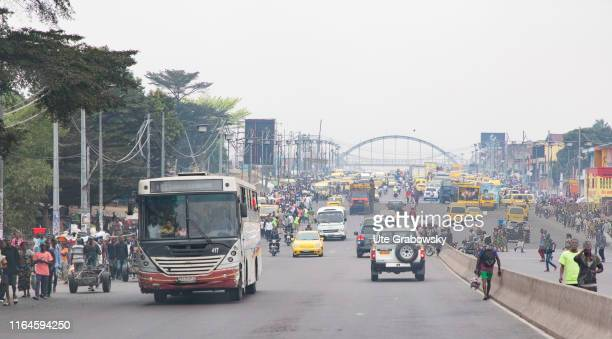 City traffic in Africa on August 16, 2019 in Kinshasa, Congo.