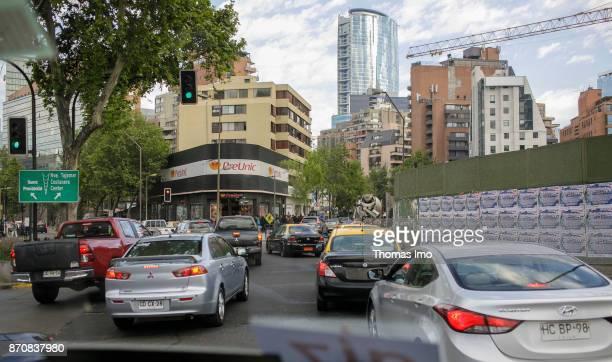 City traffic in Santiago de Chile on October 16 2017 in Santiago de Chile Chile