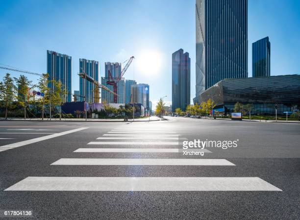 City traffic, intersection, zebra crossing